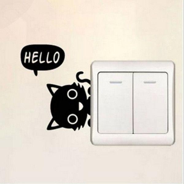 זול מתג יצירתי / cartoon חתול חמוד מדבקות לשקע קיר סלון חדר שינה חדר ילדים מדבקת דקור, לקנות איכות מדבקות קיר ישירות מספקי סין: תכונות : שם פריט : מדבקת מתג שלום חתול צבע : שחור חומר : pvc כמות : 1 pc * חתול מדבקת קיר מתג מידע צבע