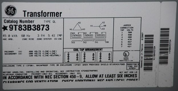 480 Vac Three Phase Wiring Diagram Ge Transformer Delta Star Nameplate Mv Hv Applications