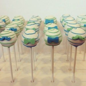 bow tie and mustache cake pops for a blue and green Father's Day I Let Them Eat Pops