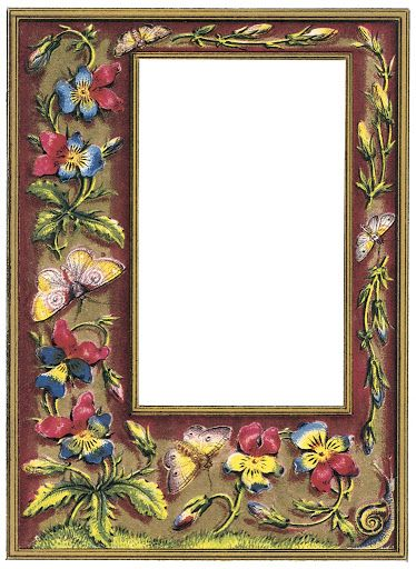 KIT - Vintage Fotoalbum - Kekas Scrap - Picasa Web Albums:  flowers and butterflies on frame.
