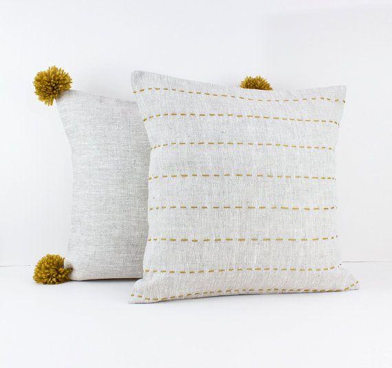 Linen cushions - Mustard Yellow Decor -  European pillow case - Throw pillows - Linen pillow cover set - Eco friendly linen by LinenandStripes