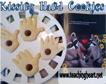 The Kissing Hand - ideas and printables to match this book!  Make kissing Hand Cookies with a Hand Cookie Cutter and a Hershey Kiss in the center!