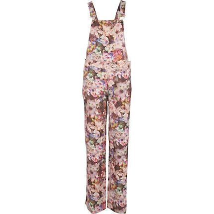 Pink floral print long dungarees - overalls - playsuits / jumpsuits - women
