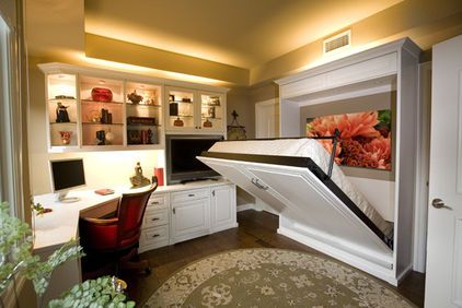 Murphy bed inside of a home office to create an extra spare