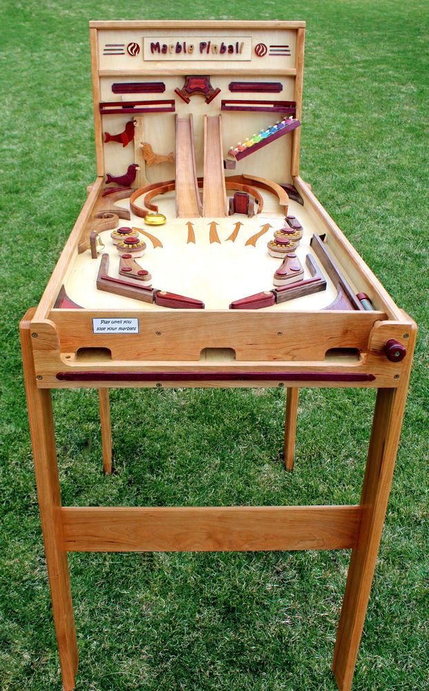 Woodworking plan for building a wood Marble Pinball game Like marble drops & run in Crafts, Home Arts & Crafts, Woodworking | eBay