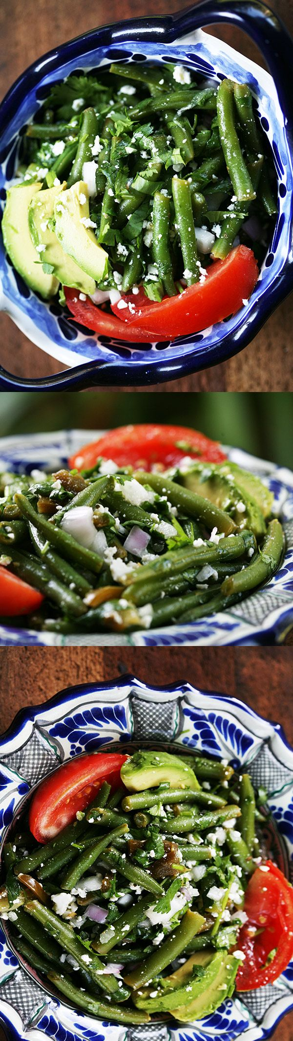 Mexican Green Bean Salad ~ Mexican green bean salad with fresh green beans, cilantro, jalapeno, red onion, cotija cheese, avocado, tomato, olive oil and lime juice. ~ SimplyRecipes.com