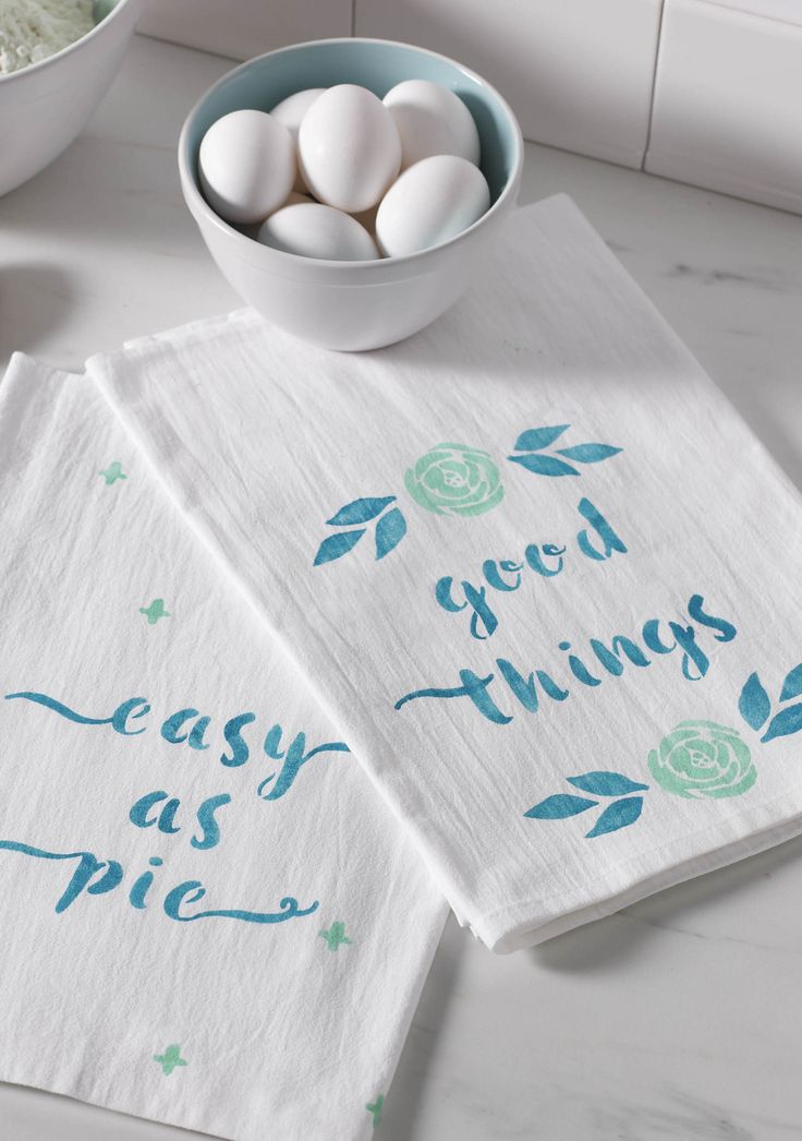 Trendy script has never been easier with our all-new Alphabets Stencil Set from @michaelsstores! Add catchy phrases and colorful designs to plain tea towels for an easy kitchen DIY.