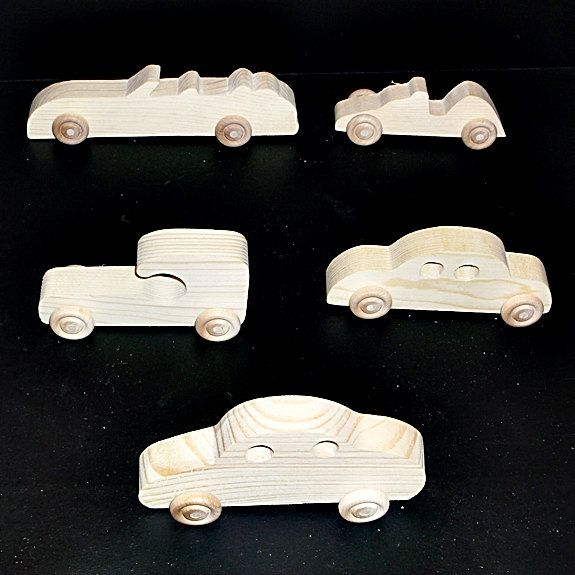 Pkg of 5 Handcrafted Wood Toy Cars, Race Car  OT- 15 unfinished or finished by MarvsCars on Etsy