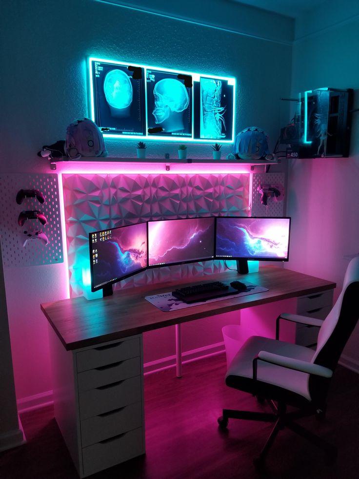 Finally finished my RAD battlestation Best Gaming Setup, Gamer Setup, Gaming Room Setup, Pc Setup, Cool Gaming Setups, Ultimate Gaming Setup, Gaming Chair, Bedroom Setup, Room Ideas Bedroom