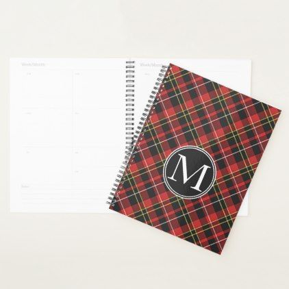 Custom Scots Red Black Yellow White Tartan Pattern Planner - classic gifts gift ideas diy custom unique
