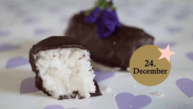 Kokos-konfekt kan overtrækkes med chokolade, hvis man ønsker det