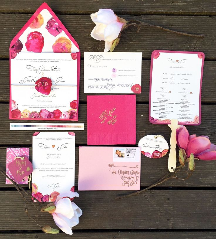 Hand painted foral pink wedding stationary with Invitation, color palette dresscode card, name card, napkins, RSVP and wedding programm. Cake & Confetti Weddings.