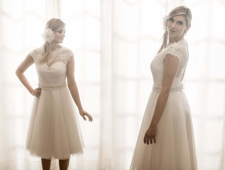 Vestido de noiva curto de tule e renda Chantilly - V001S