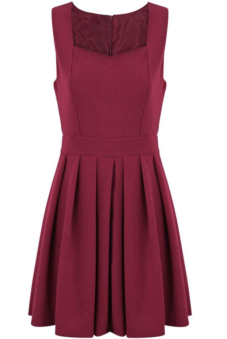 Red Strap Square Neckline Sleeveless Waitband Pleated Dress - Sheinside.com