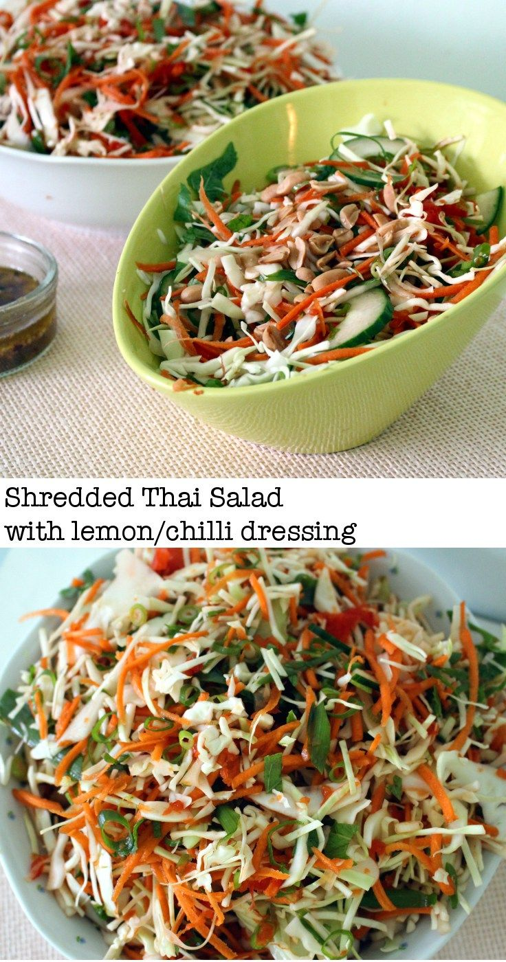 A delicious, crunchy, zingy, vegan (!) and gluten free shredded Thai salad with…