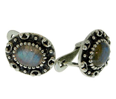 Vintage Silber-Ohrringe mit Labradorit  #Labradorit #Silber #Natursteinschmuck #Handarbeit #Vintage #Ohrringe #Ohrschmuck #Edelstein