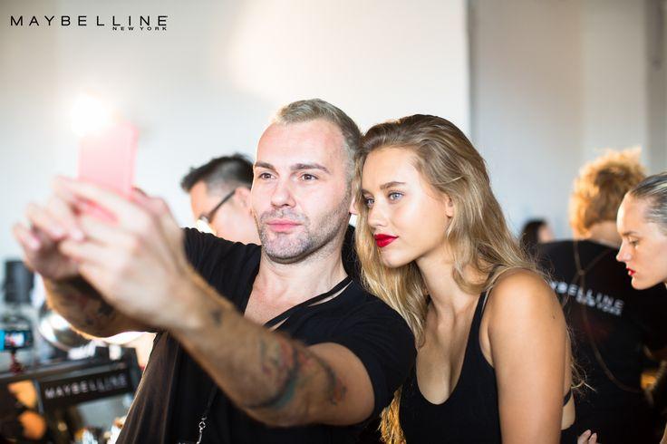 El talentoso maquillador de #MNY Yadim y la hermosa #MGirl Chase Carter en el #MBNYFW.