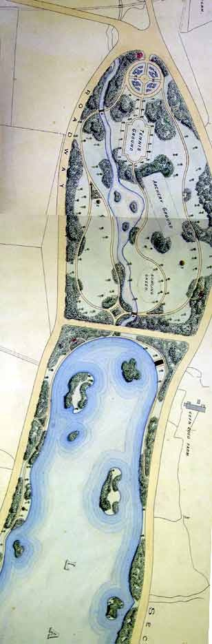 Part of a design for Roath Park, submitted for the competition