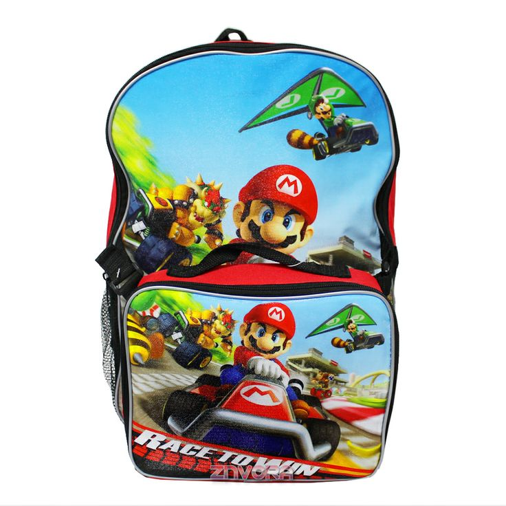 """Super Mario Bros 16"""" Backpack School Bag with Detachable Lunch Kit- Race to Win, $14.99 (http://www.znvora.com/super-mario-bros-16-backpack-school-bag-with-detachable-lunch-kit-race-to-win/)"""
