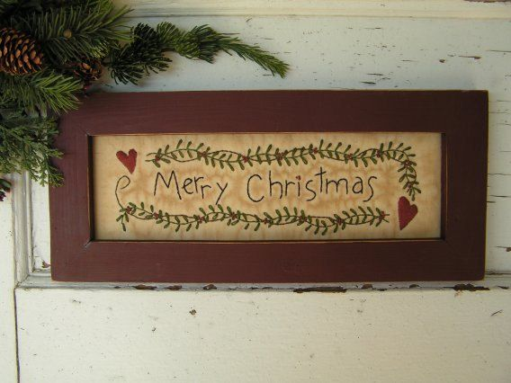 Merry Christmas Quote Wall Art Decal: 89 Best Images About Primitive Stitchery On Pinterest
