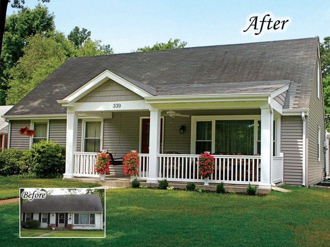 adding a small front porch   traditional exterior by Agape Construction