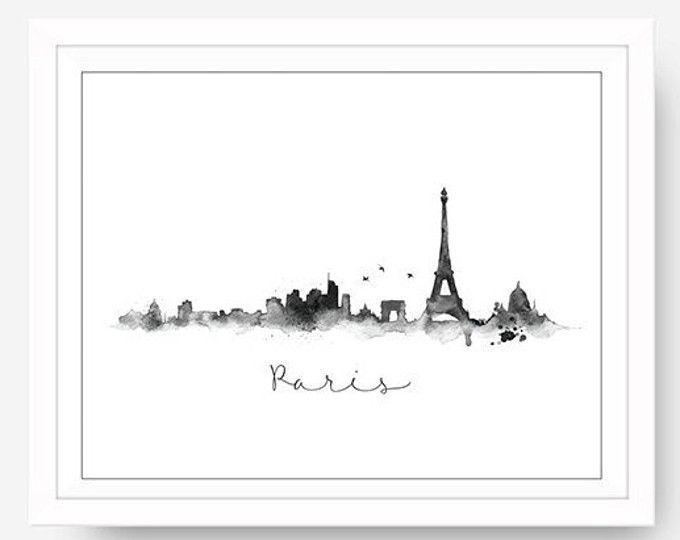 Blanco y negro del horizonte de París salpiquen pared acuarela Art Paris tema pared arte viajes pared horizonte arte grabado pintura salpicadura imprimible