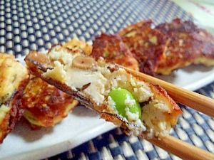 """Deep fried TOFU with Shiokoji, Natto & thinly sliced vegetables♪"" - japanese recipe/塩麹豆腐で納豆がんも♪"