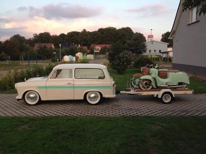 Sachsenring Trabant 600 Universal with Trailer and Simson Schwalbe