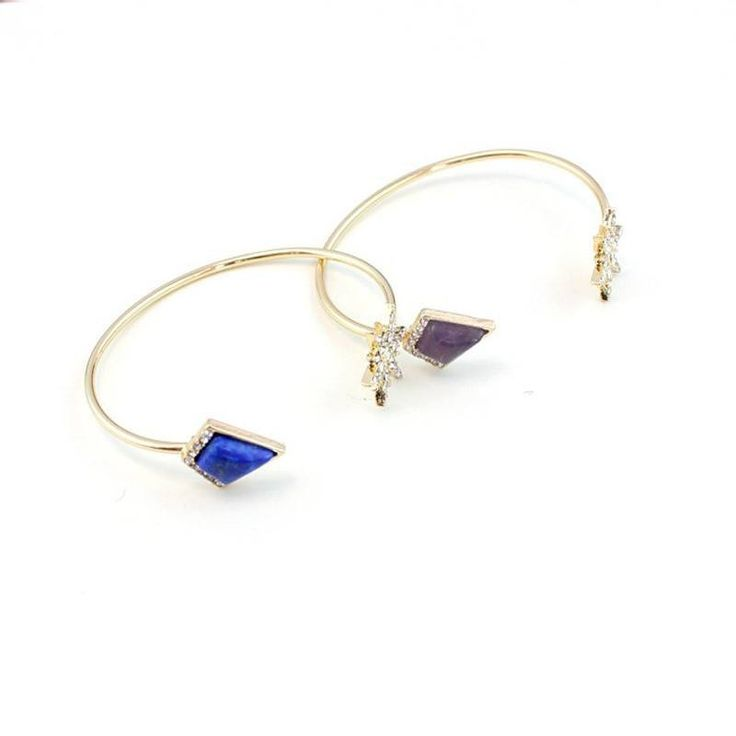 Fashion Bangle - Terra Gold-Plated Open Bangles With Crystal Star & Stone Accent