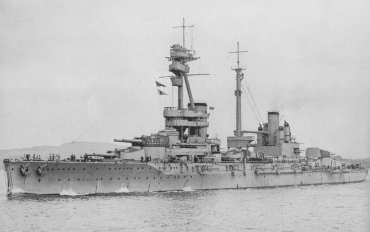 HMS Agincourt - the only battleship ever built with 7 x main armament turrets (12 in): two forward: two mid; three aft.  She was a Turkish order building in British yards and taken over near completion on the outbreak of WW1.  A Jutland veteran, she was lavishly appointed and thus a very popular 'billet': the origin of the term 'Gin Palace' now applied to luxury yachts.