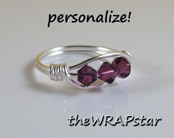 Birthstone Ring Amethyst Ring Wire Ring Wire Wrapped Jewelry Handmade Wire Ring Purple Ring