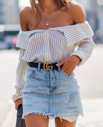 Fashion, style, saia jeans e camisa | Pinterest: dessrosa