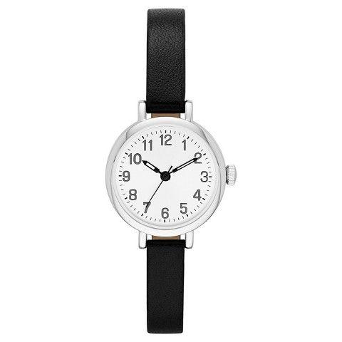 Women's Value Skinny Strap Watch - Black/Silver