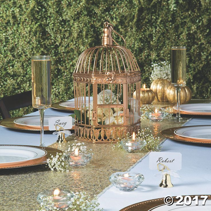 Gold Birdcage Oriental Trading In 2020 Wedding Table Centerpieces Bird Cage Centerpiece Wedding Birdcage