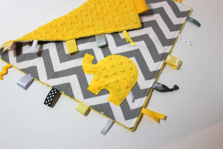 Personalized Chevron blanket - Yellow Grey Gray hues - Elephant baby lovey travel blanket shower gift nursery. $24.00, via Etsy.
