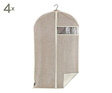Set van 4 kledinghoezen met hanger Hidde, beige, 60x100x2 cm