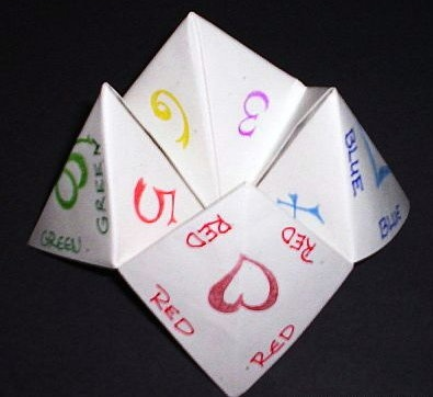 Fortune Teller! Pick a lucky number. We were obsessed with these things...