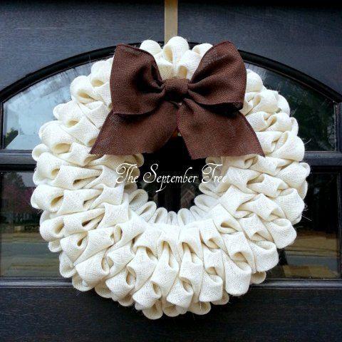 Burlap Wreath Bubble Welcome Front Door Soft White