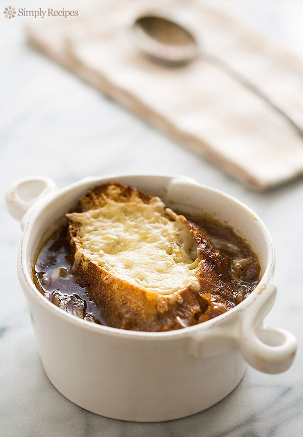 Onion Soup Recipe on SimplyRecipes.com loaded with caramelized onions ...