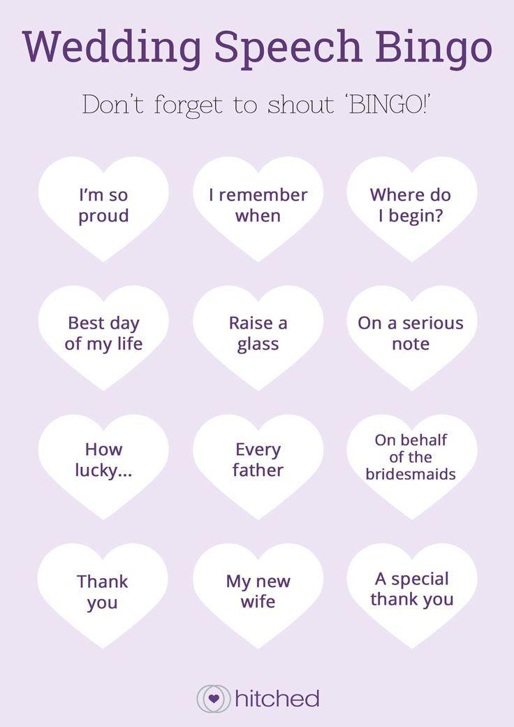 Wedding speech bingo from hitched