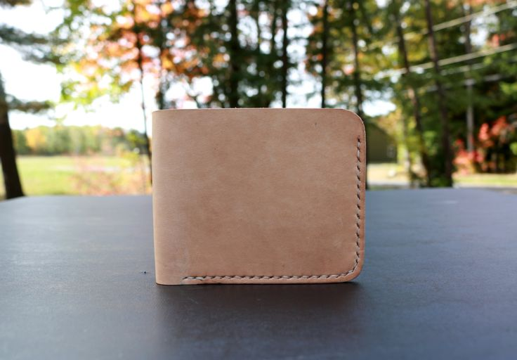 Handmade Men's Leather Bifold Wallet - Natural - Maine, Men's Gifts, Stylish Wallet, Hand stitched, Classic, Hand Sewn, Made in Maine by SalemLeather on Etsy
