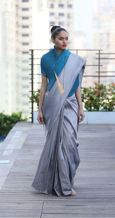 payalkhandwala - SS/2016 - Brocade Saree and Origami Wrap