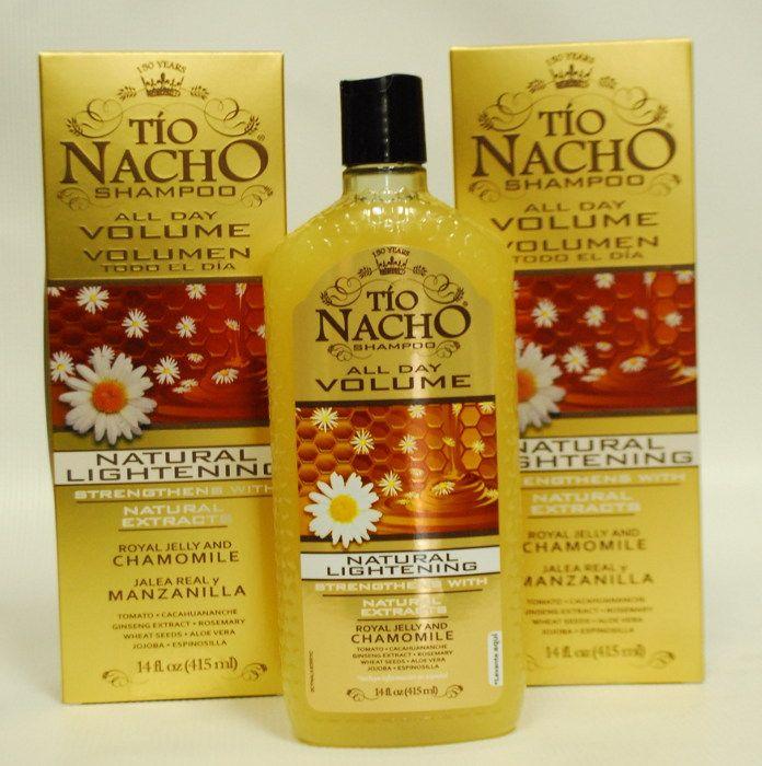Shampoo Aclarante Tio Nacho! lo usé un par me de meses, ya que aún no está en el comercio chileno.. pero en nov llega! me costó $7.990.- super efectivo! no daña el cabello, no da mucha espuma y mantiene los cabellos claros naturales o tinturados :)
