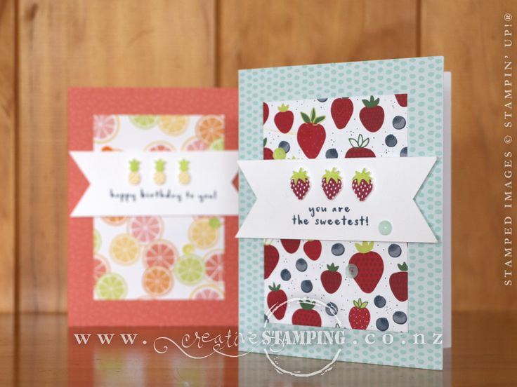 """This bright and cheery birthday card uses the Fruit Basket stamp set with the coordinating Itty Bitty Fruit Punch Pack, the awesome Tutti-Frutti 6"""" x 6"""" Designer Series Paper and Tutti-Frutti Adhesive-Backed Sequins, all available from the Occasions Catalogue.  The card bases are the gorgeous Tutti-Frutti Cards & Envelopes, which you can get for FREE with a qualifying order during Sale-A-Bration.  www.creativestamping.co.nz 