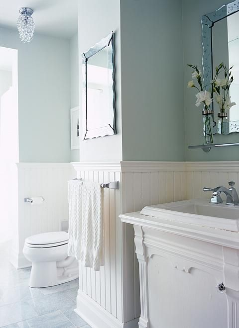 Sarah Richardson Design inc  Season 2 Caroline's Bathroom -- love everything about this bathroom, but esp the wainscoting