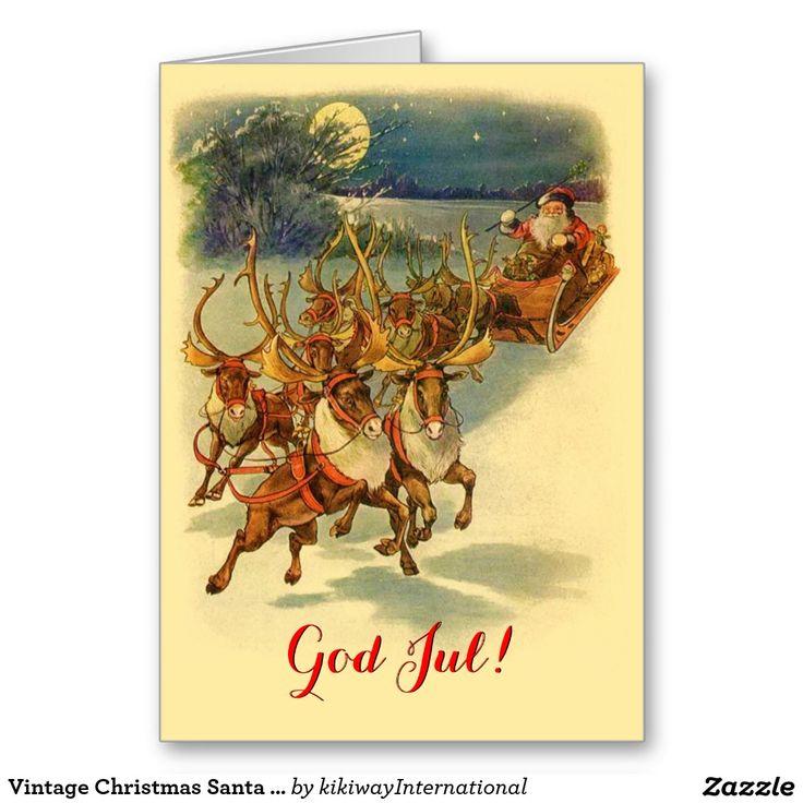 Vintage Christmas Santa Claus Deers God Jul Cards