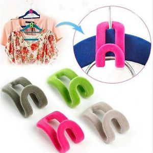 10pcs-Creative-Mini-Flocking-Clothes-Hanger-Easy-Hook-Closet-Organizer-New-L7S