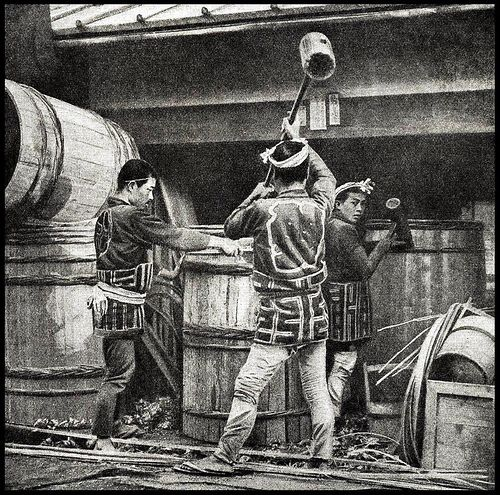 COOPERS POUNDING WOVEN BAMBOO STRAPPING ONTO GIANT BARRELS in OLD JAPAN by Okinawa Soba, via Flickr.  One of about thirty-five large half-tone images --- originally photographed in 3-D ca.1898 by T. ENAMI --- illustrating the JAPAN article by WALTER WESTON in the multi-volume, best-selling PEOPLES OF ALL NATIONS (1922).