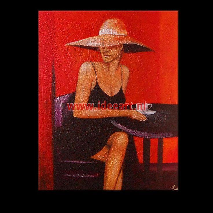 schilderij Vrouw met koffie 5628