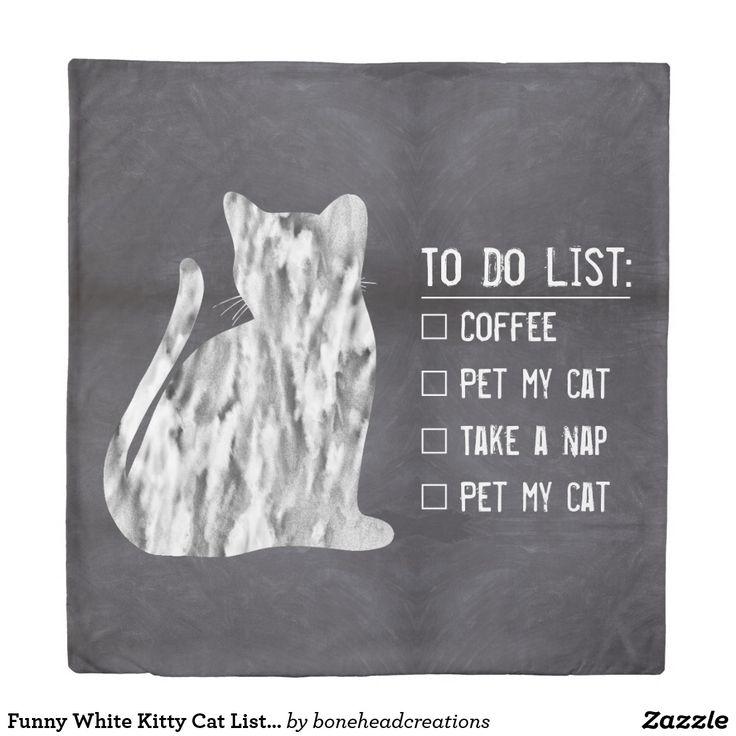 Funny White Kitty Cat List Coffee Nap Chalkboard Duvet Cover